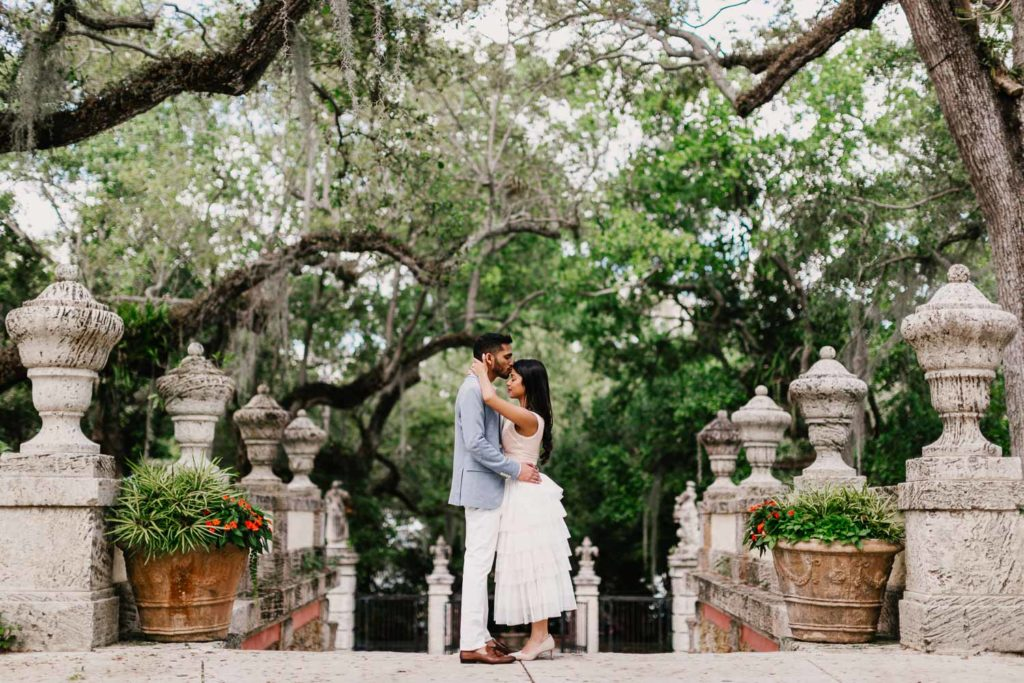 Engagement photography at Vizcaya Museum and Gardens Miami FL